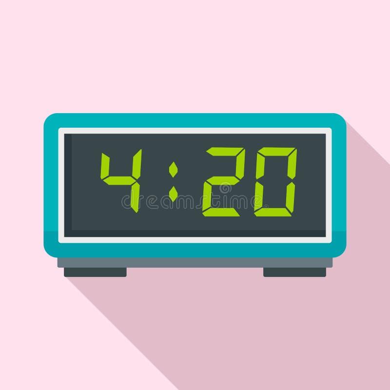 Digital alarm clock icon, flat style. Digital alarm clock icon. Flat illustration of digital alarm clock vector icon for web design vector illustration