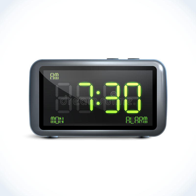 Digital alarm clock royalty free illustration
