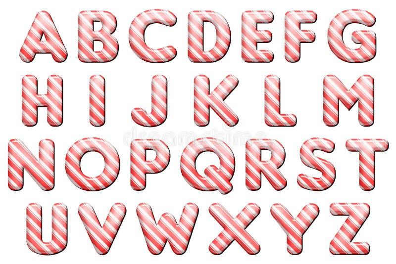 Digital-Alphabet-Süßigkeit Cane Style Scrapbooking Element stock abbildung