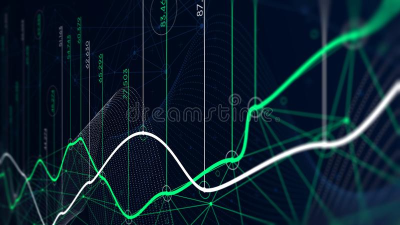 Digital analytics concept, data visualization, financial schedule, monitor screen in perspective vector illustration