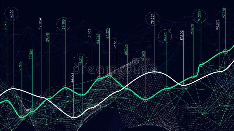 Digital analytics concept, data visualization, financial schedule, vector vector illustration