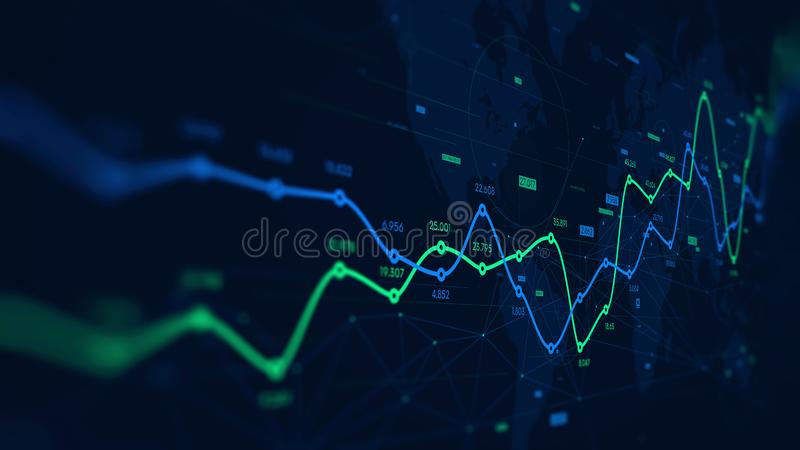 Digital analytics data visualization, financial schedule, monitor screen in perspective vector illustration
