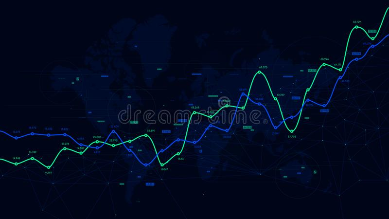 Digital analytics data visualization, financial schedule, vector dashboard stock illustration