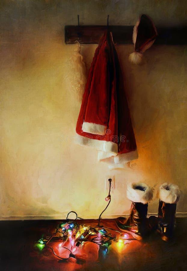 Digital-Anstrich des Sankt-Kostüms mit Leuchten stockfotografie