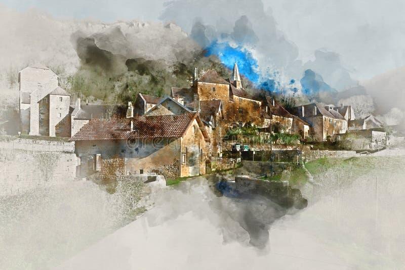 Digital-Aquarellmalerei des Baume-les-Messieursdorfs stock abbildung