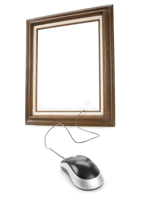Digital Art. Wood Picture Frame and computer Mouse, concept of digital art produce stock photo