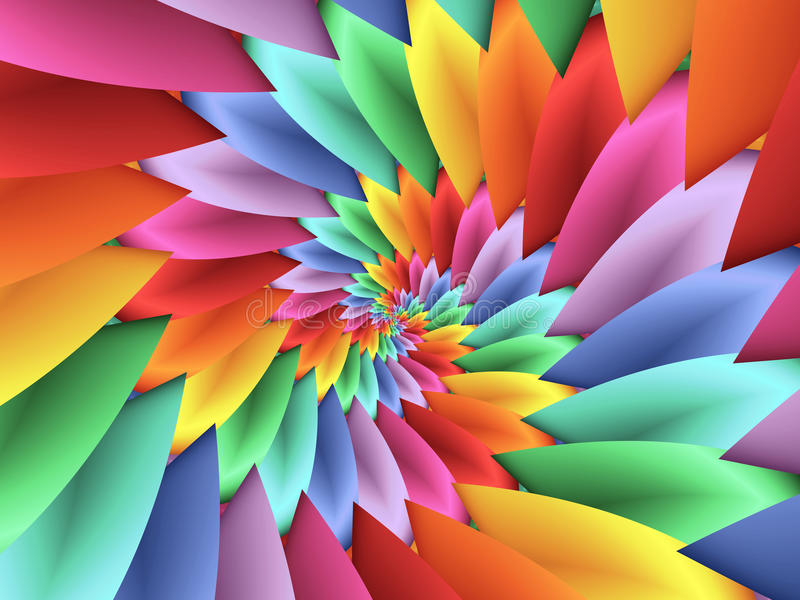 Digital Art Abstract Pastel Colored Rainbow 3d Spiral Petals Background stock illustration