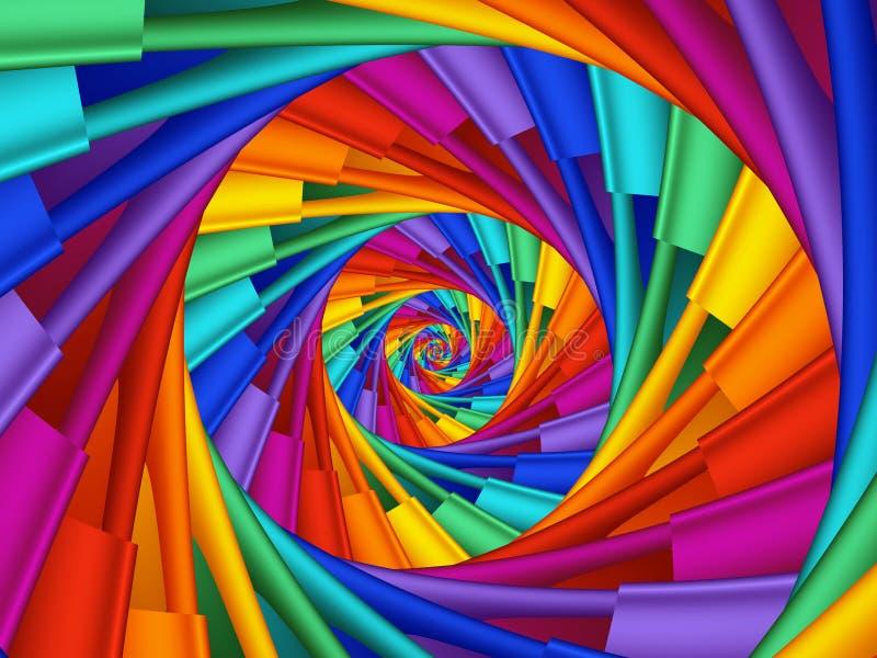 Digital Art Abstract Rainbow 3d Spiral Background stock illustration