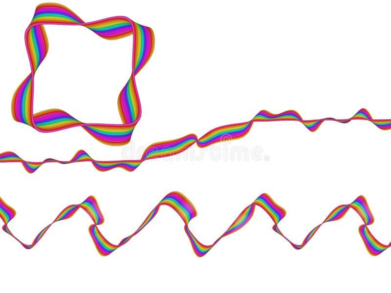 Digital Art Abstract Rainbow Flowing Ribbon vector illustration