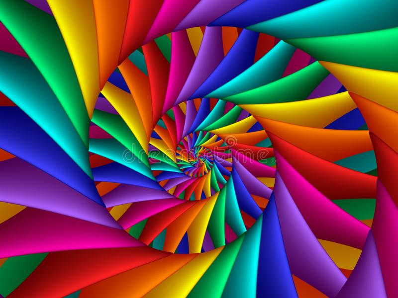 Digital Art Abstract Rainbow Spiral Background royalty free stock photography