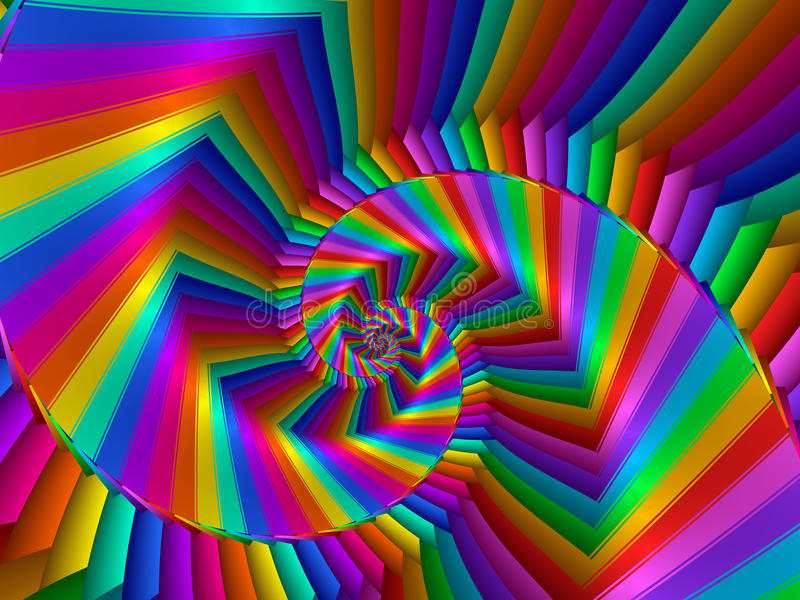 Digital Art Abstract Rainbow Spiral Background stock illustration