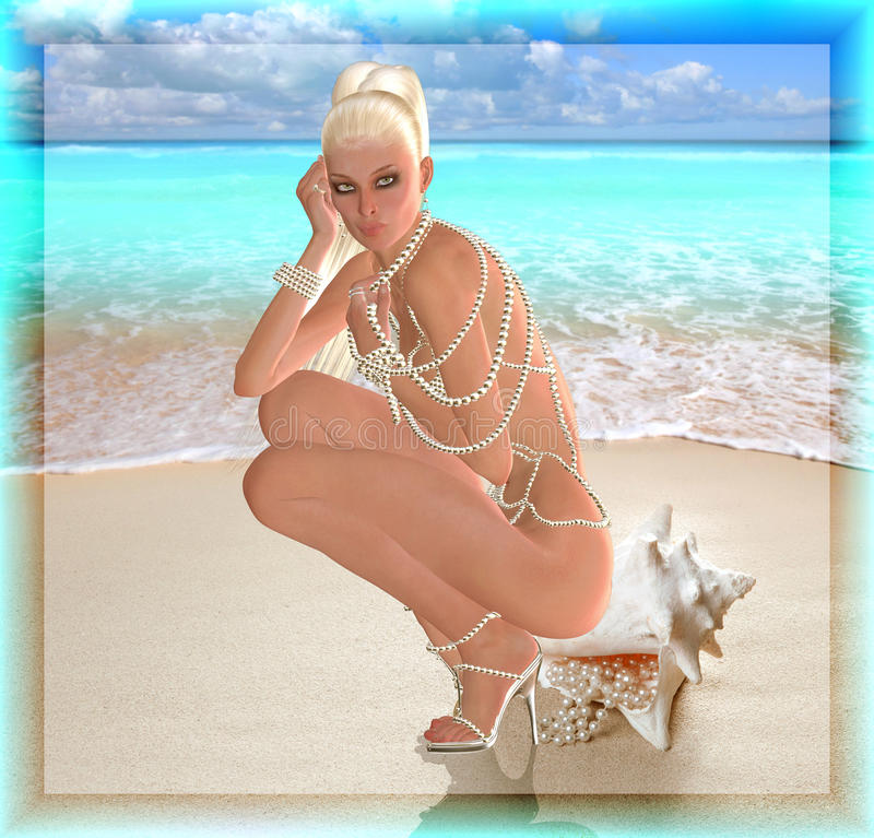 A digital art blonde beauty sits on a sea shell with pearls spilling out of them. She wears a long pearl necklace as a bikini stock image