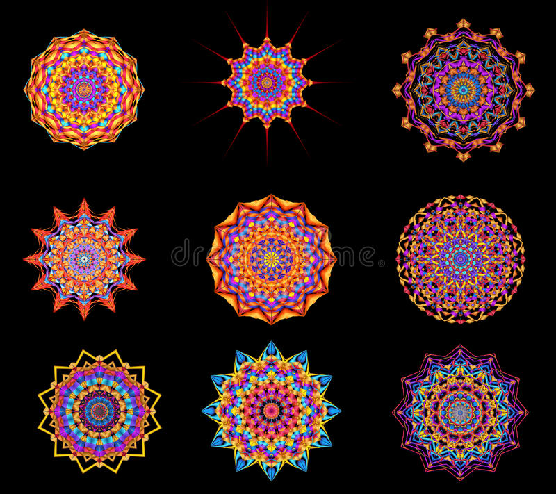 Digital Art Collection Abstract Kaleidoscope Decorative Medallions royalty free illustration
