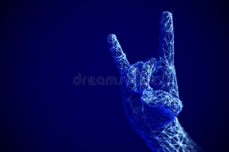 Digital art concept: rock n roll or heavy metal sign gesture in cyberspace. stock illustration
