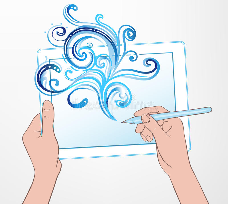 Digital art creating: technology concept. Portable tablet and human hand drawing intricate doodles sketchy composition with pen. vector illustration
