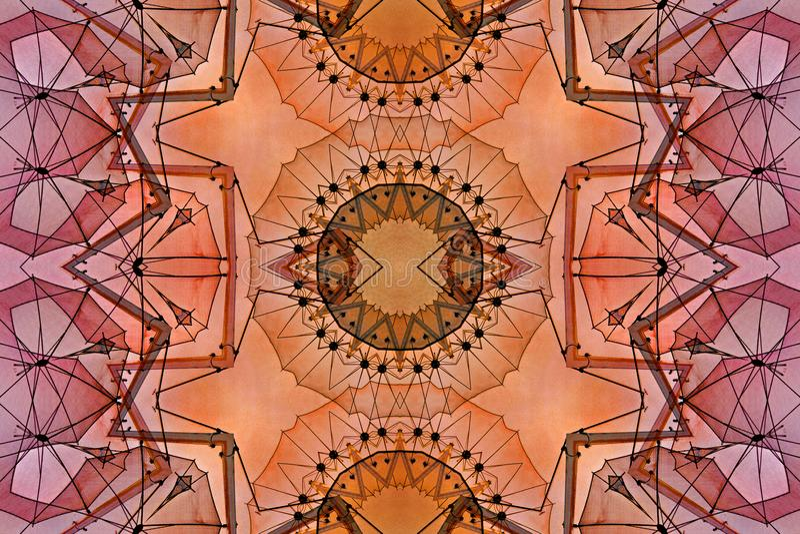 Digital art design with red orange and brown filigree pattern royalty free illustration