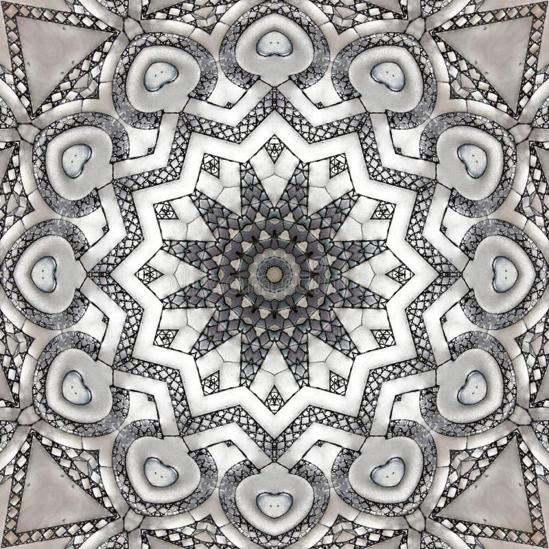 Mosaic texture, marble floor seen through kaleidoscope. Digital art design. Abstract texture of a mosaic  in different gray. A marble floor seen through royalty free illustration