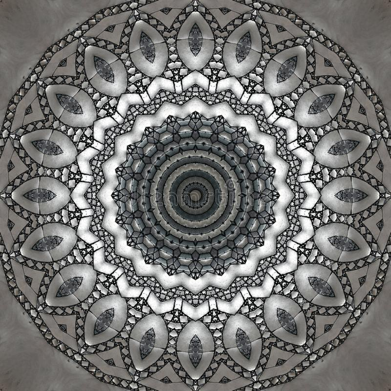Mosaic texture, marble floor seen through kaleidoscope. Digital art design. Abstract texture of a mosaic  in different gray. A marble floor seen through vector illustration