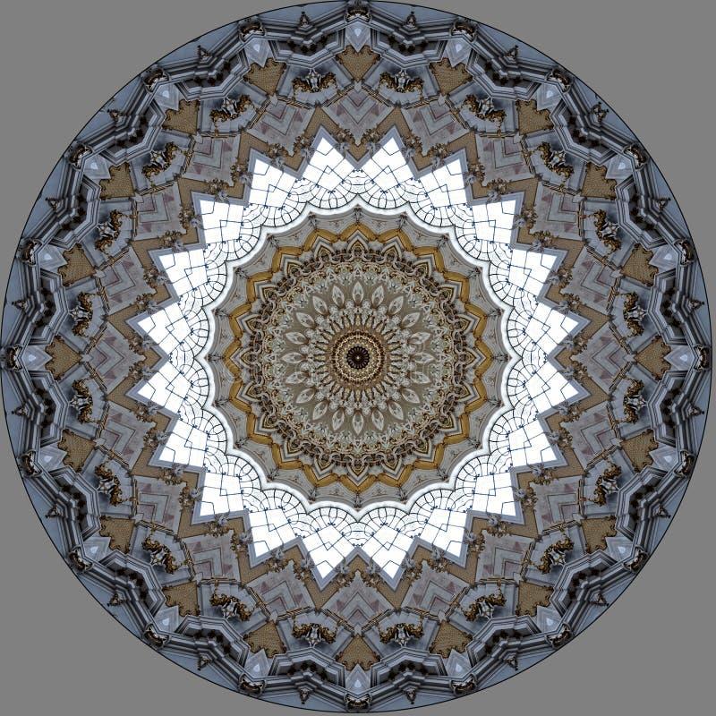 Digital art design, architecture seen through kaleidoscope. Digital art design, abstract texture ine a church the cupola seen through kaleidoscope royalty free illustration