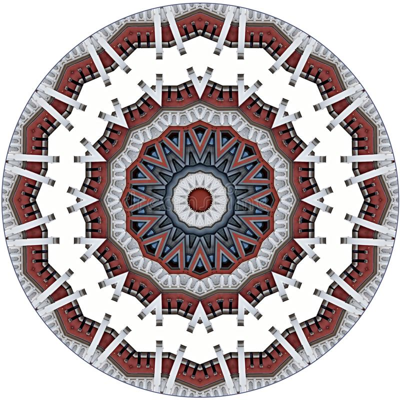 Digital art design, colorful facade seen through kaleidoscope. Colorful facade seen through kaleidoscope, seamless pattern in different red and grey stock illustration
