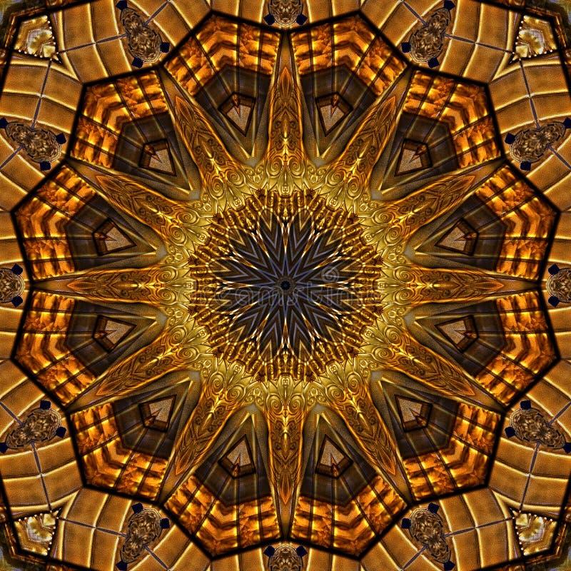 Golden art nouveau pattern  seen through kaleidoscope. Digital art design, details of a art nouveau pattern  seen through a kaleidoscope vector illustration