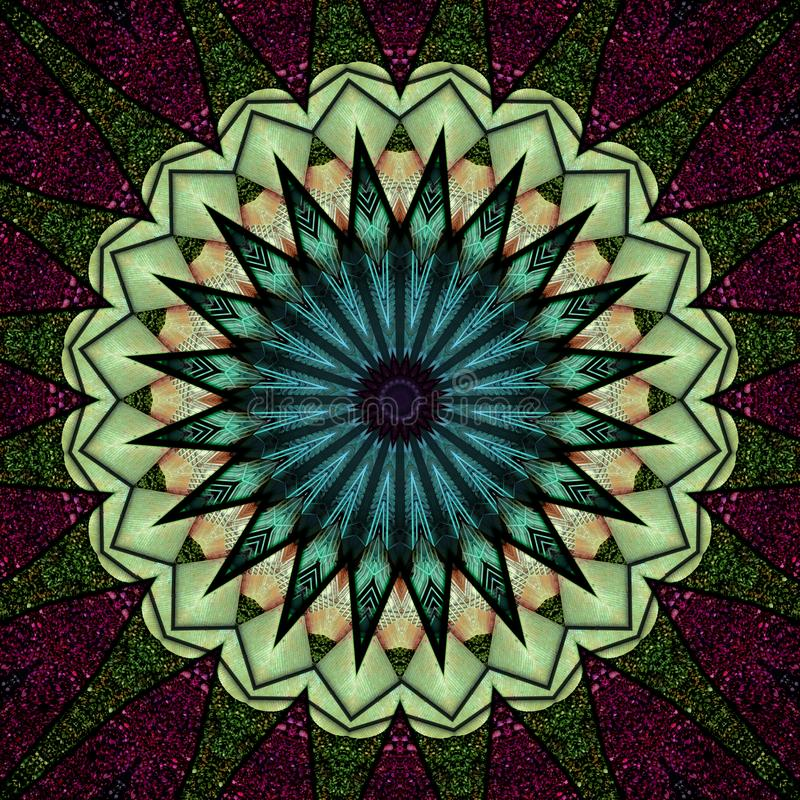 Colorful star seen through kaleidoscope. Digital art design, glittering star seen  through kaleidoscope, computer generated vector illustration