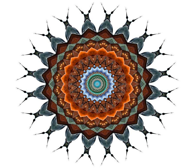 Digital art design, art nouveau facade seen through kaleidoscope. Art nouveau facade seen through kaleidoscope, seamless pattern in different brown royalty free illustration