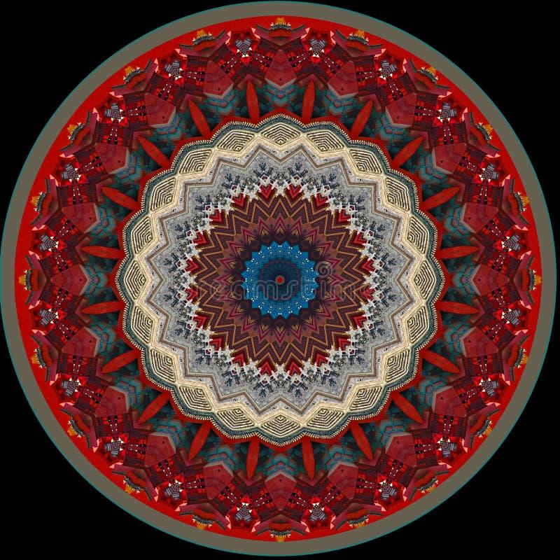 Digital art design, oriental pattern, golden and blue stock illustration