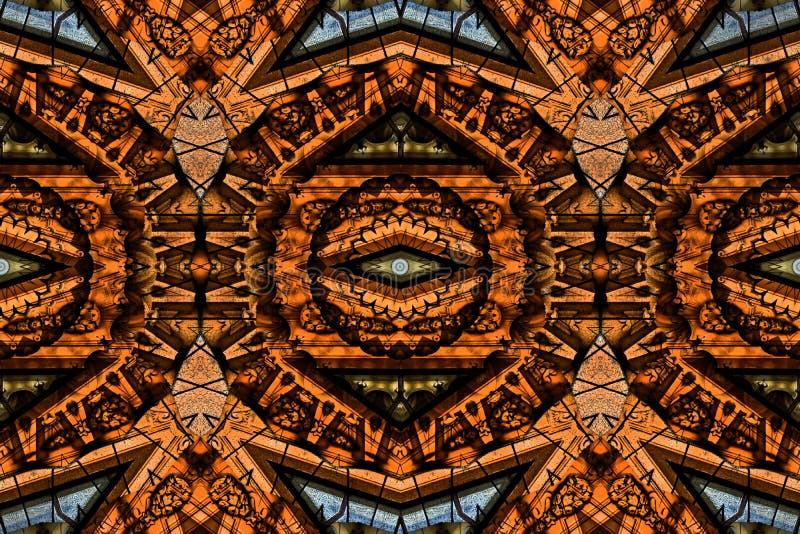 Mysteriously digital art design of interlocking circles and tria vector illustration