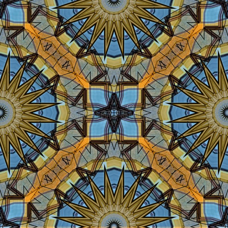 Mysteriously digital art design of interlocking circles and star stock illustration