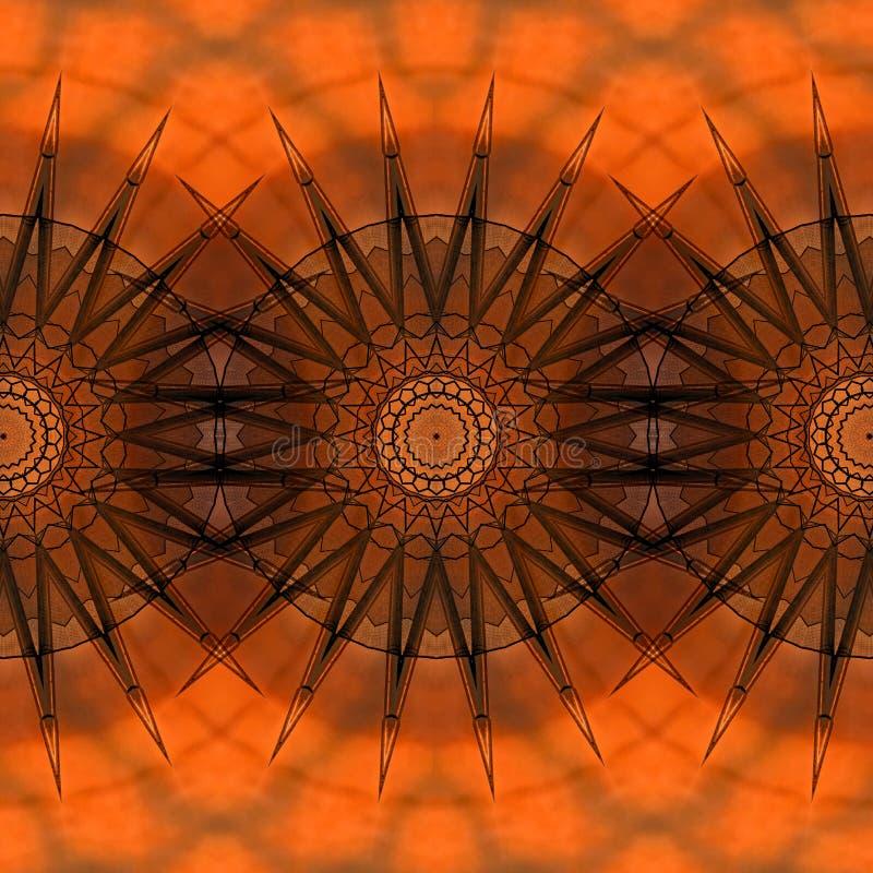 Digital art design seamless pattern with stars on orange red stock illustration