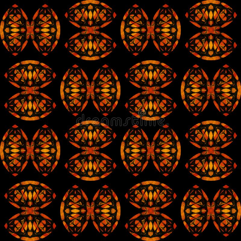 Digital art design, seamless pattern in yellow orange and red stock illustration