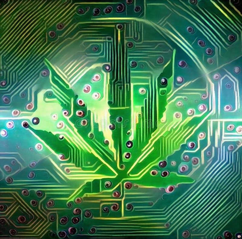 Electronic Leaf. Digital art. Electronic circuit and Marijuana Leaf vector illustration