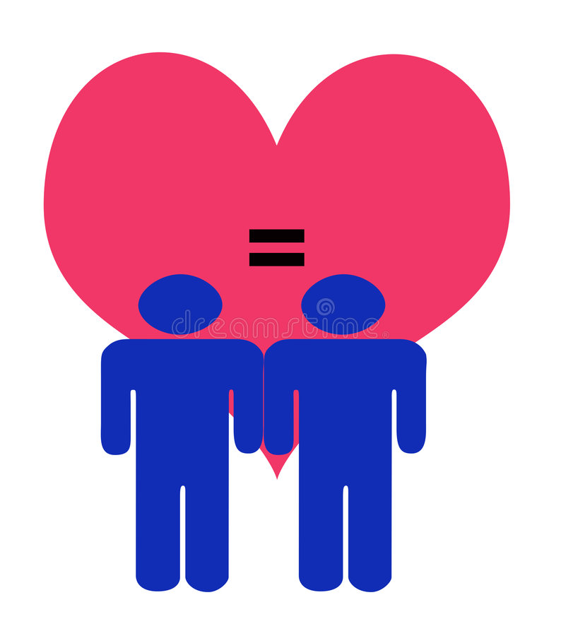 Digital Art Illustration. Of Male Couple Figures in Blue in front of a Giant red Heart with an equal sign against a white background stock illustration