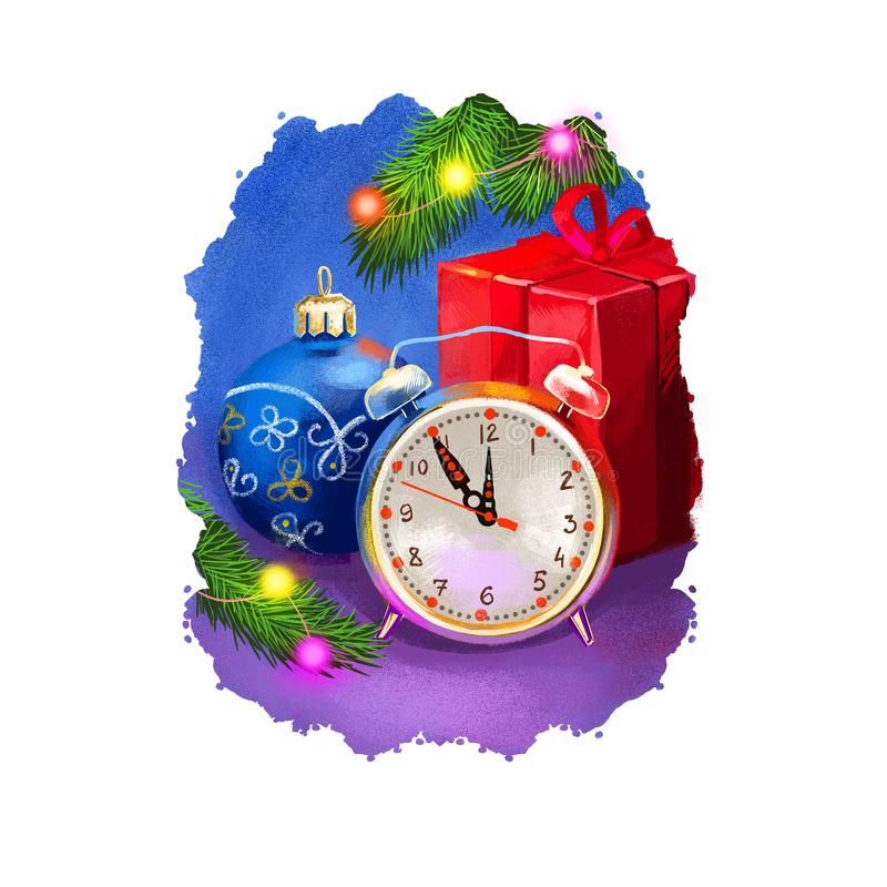 Digital art illustration of alarm clock showing time around midnight, countdown before New Year begins. Merry Christmas and Happy. New Year greeting card design vector illustration
