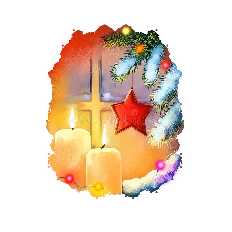 Digital art illustration of burning christmas candles in front of window and decorated christmas tree. Merry Christmas and Happy vector illustration
