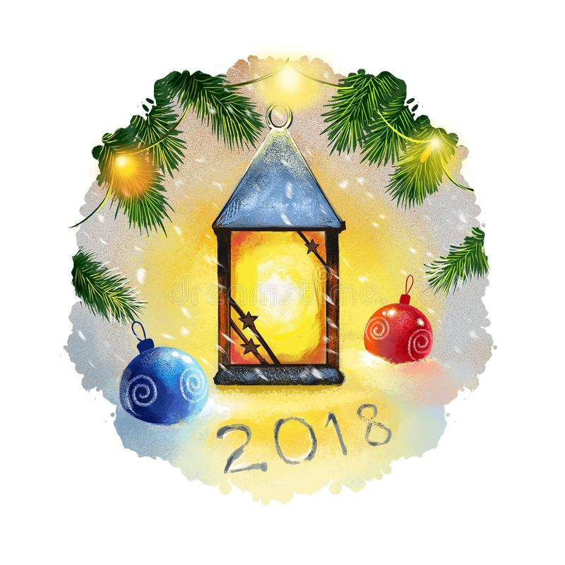 Digital art illustration of christmas lantern and christmas decorations hanging on christmas tree branch. Merry Christmas and. Happy New Year greeting card stock illustration
