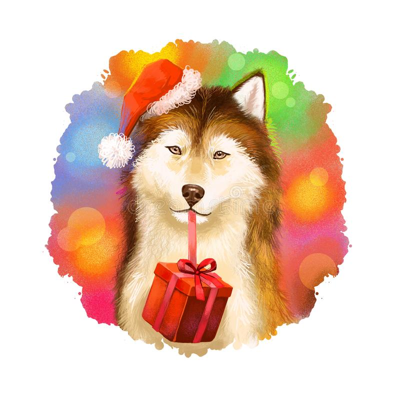 Digital art illustration of cute dog in red Santa`s hat holding gift box in mouth. Merry Christmas and Happy New Year greeting. Card design. 2018 year of dog vector illustration