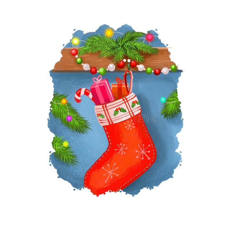Digital art illustration of red christmas sock full of candies hanging on decorated wall with garland. Merry Christmas and Happy. New Year greeting card design stock illustration