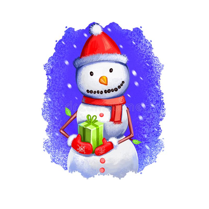Digital art illustration of snowman holding present in hands wearing red Santa`s hat, scarf and mittens. Merry Christmas and Happ. Y New Year greeting card stock illustration