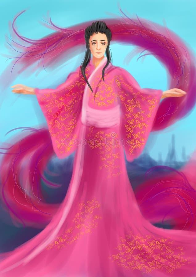 Digital art of a Japanese woman in a pink kimono 皇族释放例证