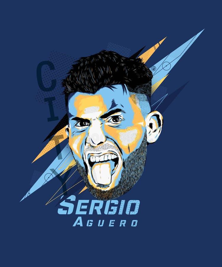 Free Digital Art Of Sergio Aguero - Argentine Footballer. Royalty Free Stock Image - 149984076