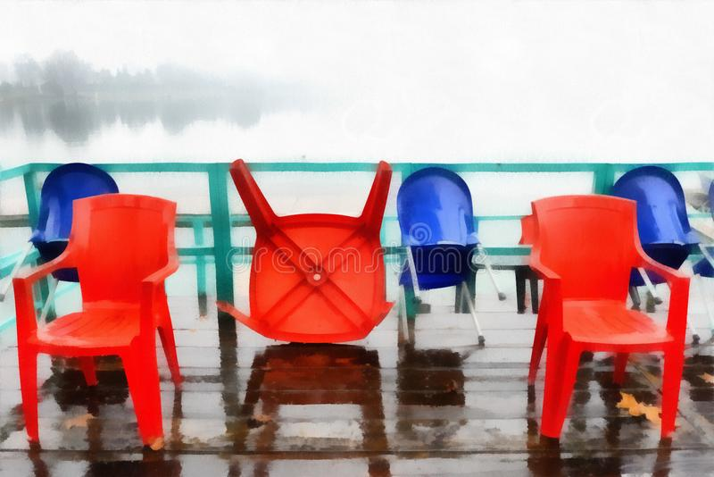 digital art painting colored red plastic chairs stored outdoo