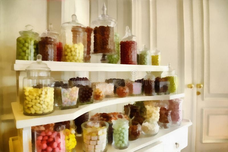 Digital art Painting - colorful jars of candy display royalty free stock photo