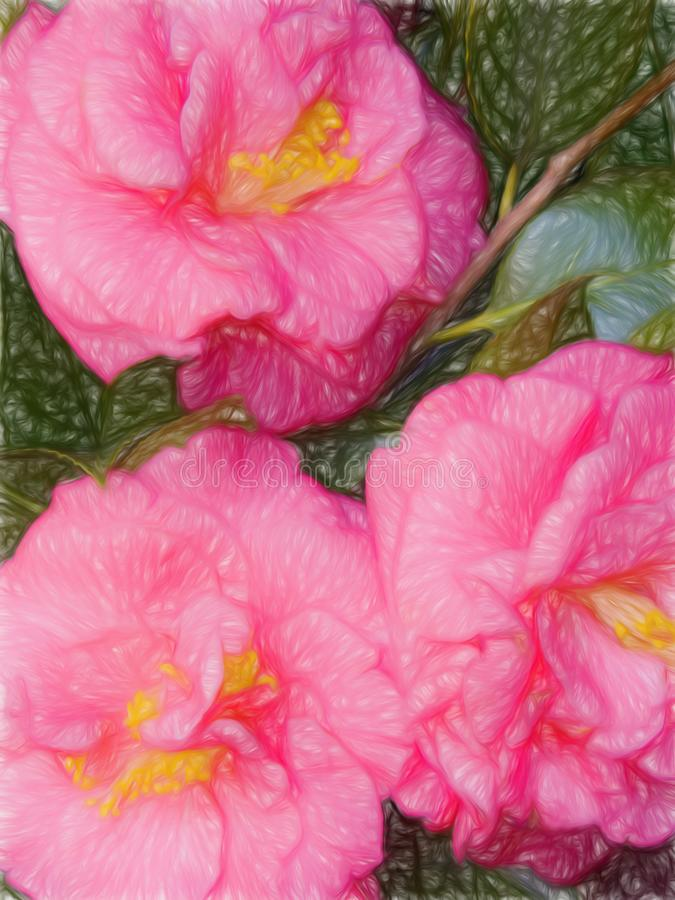 Digital Art Painting of an Old Fashioned Pink Camellia Flower stock photo