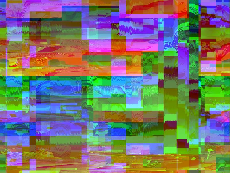 Digital art shapes with visible pixel, chromatic TV colors stock illustration