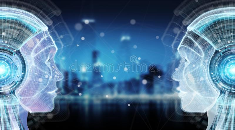 Digital artificial intelligence cyborg interface 3D rendering. Digital artificial intelligence cyborg interface isolated on blue background 3D rendering stock illustration