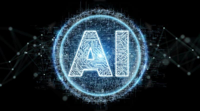Digital artificial intelligence text hologram 3D rendering. Digital artificial intelligence text hologram on black background 3D rendering royalty free illustration