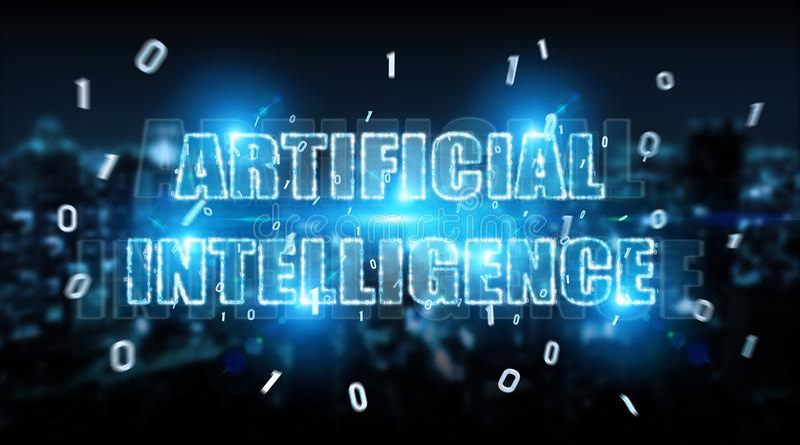 Digital artificial intelligence text hologram 3D rendering. Digital artificial intelligence text hologram on blue city background 3D rendering stock illustration