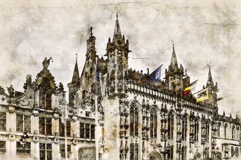 Digital artistic Sketch of a Scene in Bruges royalty free illustration
